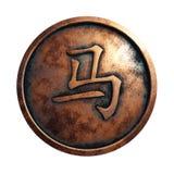 Китайский петух знака зодиака в медном круге стоковое фото rf