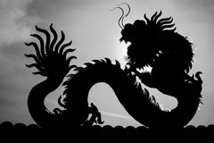 китайский дракон - Изображение силуэта китайской статуи дракона внутри Стоковые Изображения RF