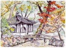 Китайский сад с павильоном моста и пагоды в Сучжоу, Китае иллюстрация штока