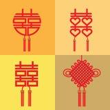 Китайский символ двойных счастья и замужества Стоковое Изображение