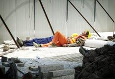 Китайский спать рабочий-строителя Стоковые Изображения