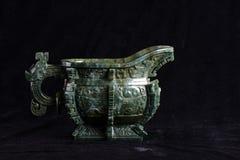 Китайский старый нефрит высекая искусство Стоковое Изображение RF