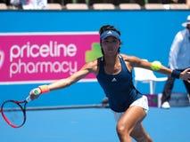 Китайский теннисист Wang Qiang подготавливая в Мельбурне для открытого чемпионата Австралии по теннису стоковые изображения