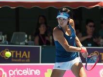 Китайский теннисист Wang Qiang подготавливая для открытого чемпионата Австралии по теннису на классике Kooyong Стоковое Изображение RF