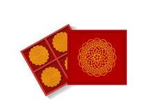 Китайский торт луны в раскрытой подарочной коробке, взгляд сверху, векторе иллюстрация штока