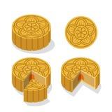 Китайский торт луны с цветочным узором, вектором бесплатная иллюстрация
