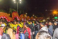 Китайский фестиваль дракона в Yogyakarta на ноче Стоковая Фотография