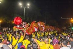 Китайский фестиваль дракона в Yogyakarta на ноче Стоковая Фотография RF