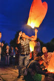 Китайский фонарик на ноче Стоковые Фотографии RF