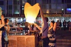 Китайский фонарик на ноче Стоковая Фотография