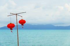 Китайский фонарик на пляже Стоковые Изображения RF