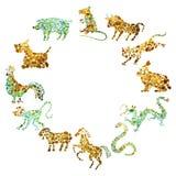 Китайский цикл зодиака Стоковые Изображения