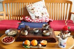 Китайский чай kungfu, выпивая сцена чая Стоковая Фотография