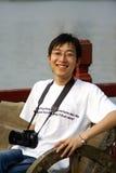 Китайский человек с камерой Стоковое Изображение