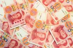 100 китайских банкнот юаней как предпосылка Стоковое Изображение RF