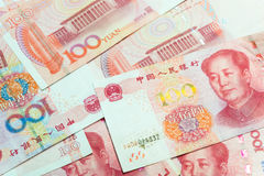 100 китайских банкнот юаней как предпосылка Стоковая Фотография RF
