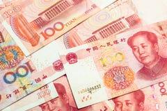 100 китайских банкнот юаней как предпосылка Стоковые Фото