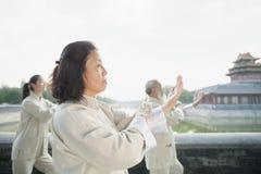 3 китайского народа практикуя Tai Ji, каналом Стоковое Изображение RF