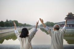 2 китайского народа практикуя Tai Ji Стоковая Фотография