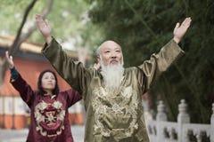 2 китайского народа практикуя Tai Ji Стоковые Фотографии RF