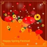 Китайское знамя Нового Года с бумажными фонариками и цветками Стоковая Фотография RF