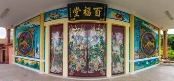 Китайское искусство на двери китайского виска Стоковая Фотография