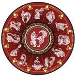 Китайское колесо зодиака с знаками Стоковое Фото