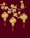 китайское Новый Год 3 китайских фонарика были стилизованный под бронзой на ветви вишни кругло иллюстрация иллюстрация вектора