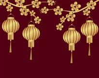 китайское Новый Год Стилизованный под бронзовыми китайскими фонариками на ветви вишни От 2 сторон кругло иллюстрация бесплатная иллюстрация