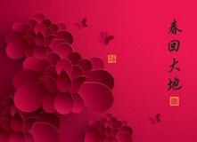 китайское Новый Год График вектора бумажный лотоса Стоковые Изображения RF