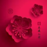 китайское Новый Год График вектора бумажный цветения сливы Стоковая Фотография