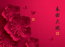 китайское Новый Год График вектора бумажный цветения сливы Стоковое Фото