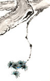 Китайское традиционное выдающийся шикарное декоративное покрашенное вручную дерево чернил-сосны Стоковые Изображения