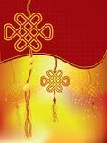 Китайское украшение Нового Года - узел удачи Стоковые Фото