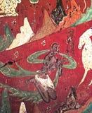 Китайское frescoe белых оленей на красной предпосылке Стоковое Изображение