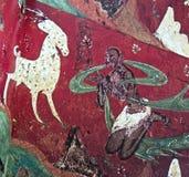 Китайское frescoe белых оленей на красной предпосылке Стоковые Изображения RF