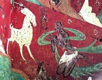 Китайское frescoe белых оленей на красной предпосылке Стоковая Фотография RF