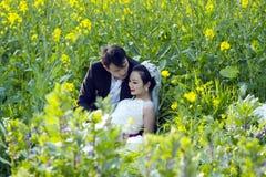 Китайское portraint свадьбы пар в поле цветка Коул Стоковые Фото