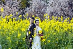 Китайское portraint свадьбы пар в поле цветка Коул Стоковое Изображение