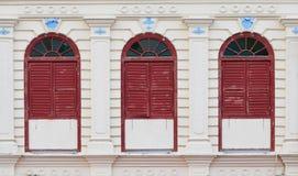 Китайско-португальское здание архитектуры на Penang, Малайзии стоковые фотографии rf