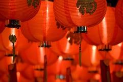 китайцы закрывают бумагу фонарика вверх Стоковые Изображения RF