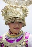 китайцы одевают этническую девушку традиционную Стоковое фото RF