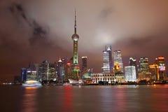 Китай взгляд shanghai ночи Район Пудуна стоковое изображение