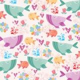 Кит в иллюстрации моря Стоковая Фотография RF