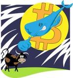 кит на фоне bitcoin-луны атакует иллюстрацию валюты быка секретную иллюстрация штока