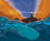 Кит поя в тропических водах в близко острова маяка иллюстрация вектора
