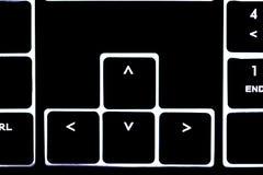 Клавиатура загоренная компьютером, белые письма Стоковая Фотография