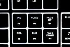 Клавиатура загоренная компьютером, белые письма Стоковое Изображение RF