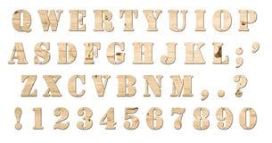клавиатура изолированная алфавитом деревянная Стоковое Фото