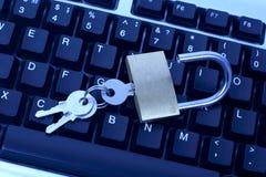 клавиатура и замок с ключами Стоковая Фотография